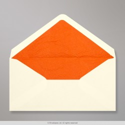 110x220 mm (DL) Ivory Envelope Lined With Orange Fancy Paper