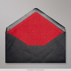 110x220 mm (DL) Black Envelope Lined With Red Fancy Paper