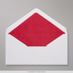 110x220 mm (DL) White Envelope Lined With Red Fancy Paper