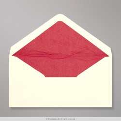 110x220 mm (DL) Ivory Envelope Lined With Red Fancy Paper