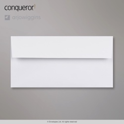 110x220 mm (DL) Busta Conqueror diamante bianco, Bianco diamante, Con autoadesivo protetto da strip